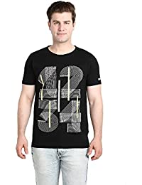 LNDN HOUR Half Sleeves New Divine Stylish Chest Print, Round Neck Cotton Tshirt, Latest High Quality Fashion Garments For Mens / Boys. Black Colour