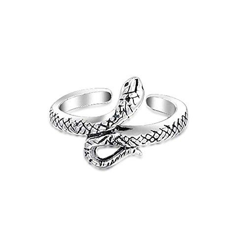 Bling Jewelry Plata 925 oxidada Toe Serpiente anillo ajustable anillos Midi