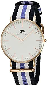 Daniel Wellington Classic Damenuhr blau-weiß-lila/roségoldfarben 0509DW