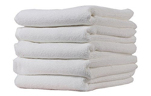 Trident Hotel Cotton Hand Towels (White, 25 x 16-inch) - Pack of 5