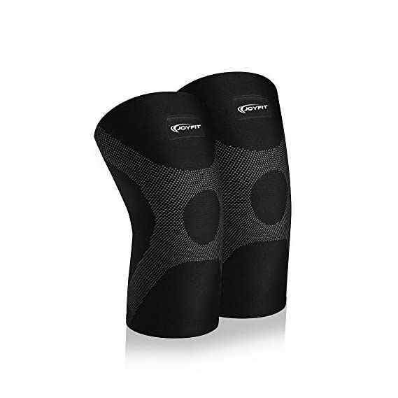 JoyFit - Knee Compression Sleeve Pair for Pain, Cycling, Running, Support, Sports, Basketball, Badminton, Jogging, Gym, Workout, Arthritis for Men and Women