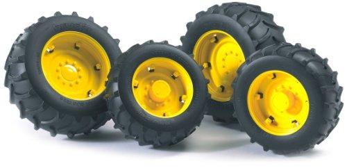 Bruder 02321 - Zubehör: Zwillingsbereifung mit gelben Felgen, super-pro (Deer Kinder Traktor John)