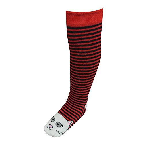 riese-strumpfe-knee-socks-girls-striped-cat-motif-red-27-30rot