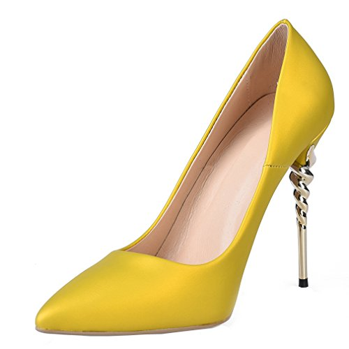 ENMAYER Femmes PU Matériel Pointu-Toe Slip-On Talons hauts Solide Casual Dress Stiletto Talons Chaussures Jaune