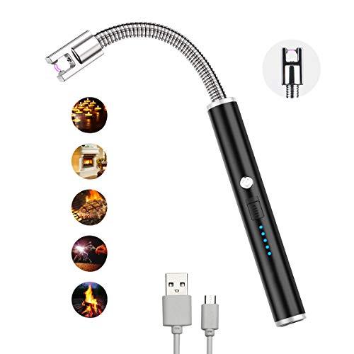 G-TASTE Encendedor Eléctrico con el Arco USB Encendedor Electrico rotación de 360 Grados, Recargable, sin Llama, Resistente al Viento Encendedor de Arco Eléctrico (Hielo Negro)