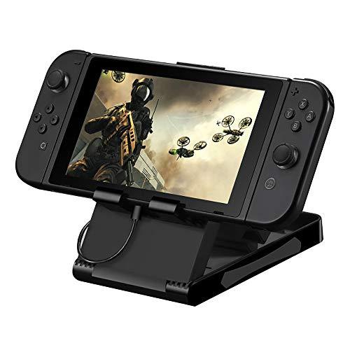 Janly Slim Folding Multi Angle Stand für Nintendo Switch für iPad/iPhone, Tablets, Handys - Universal, Charge & Play Verstellbare Halterung für Spielkonsole Mobiles Tablet Universal (Schwarz) - Kosten Apple Ipod