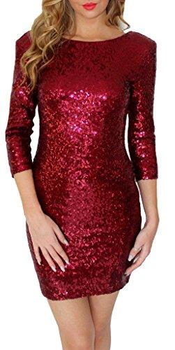 Smile YKK Hinten V Ausschnitt Damen Blitzend Pailletten Party Kleid  Festliches Kleid Bodycon Minikleid Weinrot