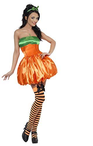 Kostüm Kürbis Smiffys - Kürbis Damenkostüm Orange mit Kleid und Haarreifen, Small