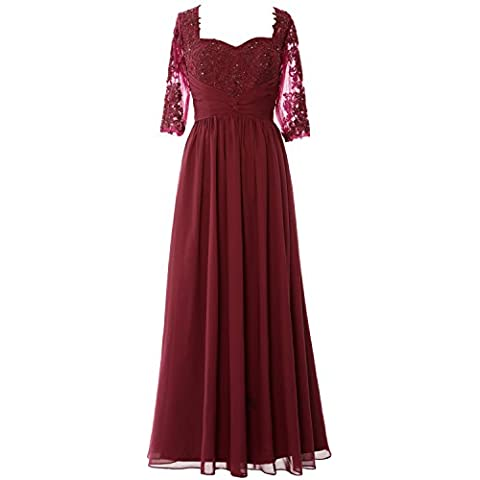 MACloth Women Half Sleeve Mother of Bride Dress Lace Chiffon Formal Evening Gown