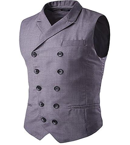 Cloudstyle Gilet de costume deux boutonnages veste sans manches slim