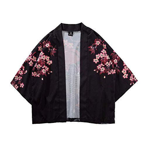 nische fünf Punkt Ärmel Kimono Herren und Damen Mantel Jacke Top Bluse STADBACK 70018 Sommer japanischen Dreiviertel-Ärmel Kimono Roben Männer und Frauen mit dem Mantel(Schwarz,L) ()