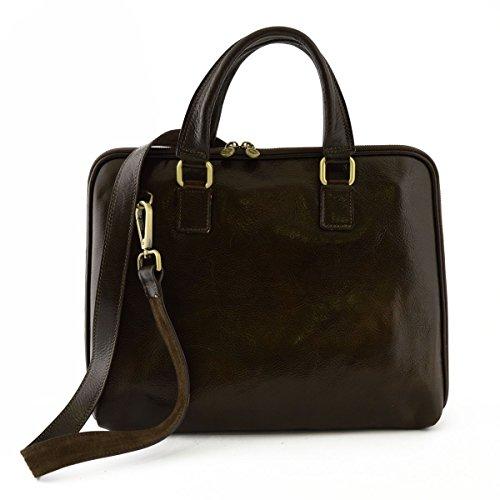 Leder Aktentaschen Mit Reißverschluss Und Zwickel Farbe Dunkelbraun - Italienische Lederwaren - Aktentasche (Leder Zwickel-aktentasche Aus)