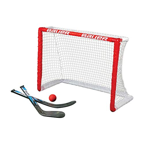 BAUER - Knee Hockey Tor Set inkl. Sticks & Ball I Outdoor-/Indoor Tor I Inline-Hockey I Tor für Hockeybälle & Pucks I Streethockey-Training I Feldhockey I inkl. 2 Mini Sticks & Schaumstoffball - Rot (Ice Hockey Tore)