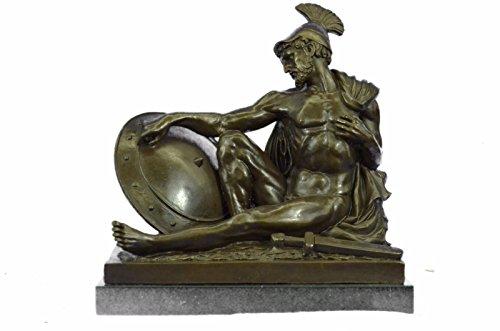 Handgemachte Bronze Skulptur Bronze Statue römischer Gladiator Sparton Krieger Marmor Basis Figurine Lrg-Ukxn-0823- Decor Sammler Geschenk (Gladiator Statue)