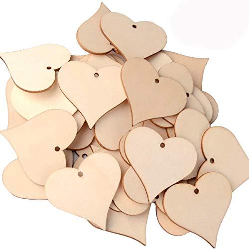 utoper Wooden Love Herz Scheiben blanko Namensschilder Holz Art Craft Stücke für Hochzeit DIY Projekte Karte machen (100Stück, 47mm)