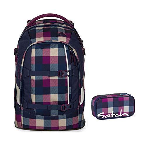 'Satch by Ergobag-Set di 2pezzi Pack Berry Carry 966Karo viola e blu