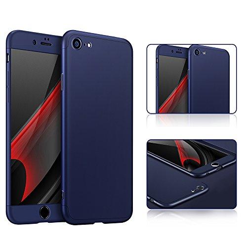 iPhone 6S Custodia, PLECUPE Lusso 3 in 1 Hard Duro PC Case Cover Coperture, Ultra Sottile Thin 360 Gradi della Copertura Completa Anti-Scratch Antiurto Caso Shell per iPhone 6/6S (Rosso) Blu Scuro