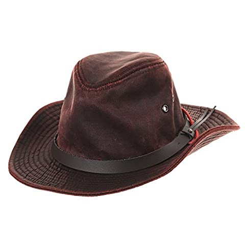 WITHMOONS Chapeau de Western Cowboy Indiana Jones Hat Weathered Faux Leather Outback Hat AL8343 (Red)