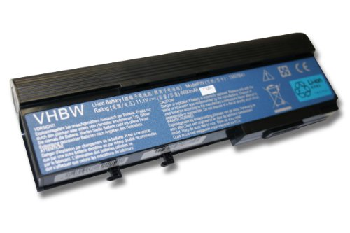 vhbw Li-Ion Batterie 6600 mAh (11.1 V) pour ordinateur portable ACER Aspire 5561, 5562, 5563, 5590 Serie comme BTP-D9BM asj1, 934t2210 F, BT. 00603.012.