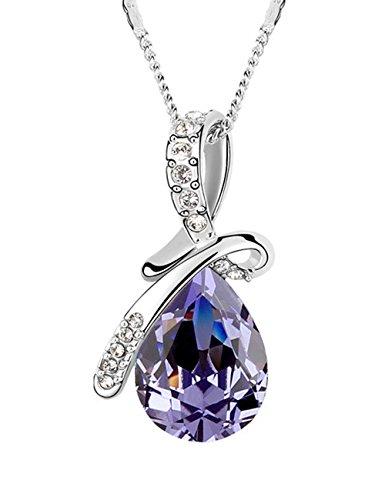 FANSING Schmuck Luxus Österreichischer Kristall Halskette Anhänger für Damen Mädchen Lila (Seemann Mädchen Kostüme)