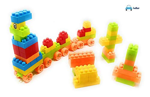 FunBlast Building Blocks for Kids with Wheel, Bag Packing, Best Gift Toy, Multicolor (Set of 55 PCS)