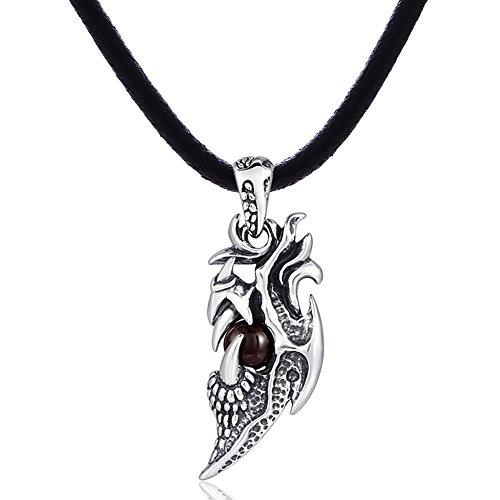 DonDon-Collana in pelle 50cm e Drago Artiglio Ciondolo in acciaio inox con pietra nera in un sacchetto in velluto