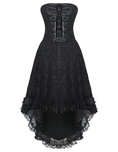 Burvogue Damen Gothic Spitzen Steampunk Korsett Kleid Kostüm (M, Schwarz) (Korsett Kleid Kostüme)