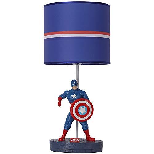 Lampe de table créative pour enfants Lampe de table Captain America Matériau de l'abat-jour Lampe de table en résine Lampe de chevet E27 Ø25 * H55cm Pour le salon de la chambre