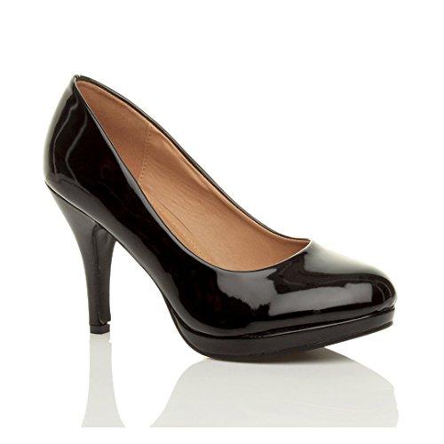 Donna tacco alto medio lavoro sera festa semplice décolleté scarpe taglia Vernice nero