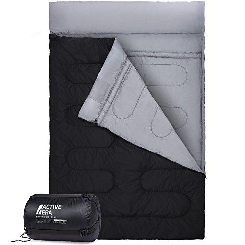 Sacco a pelo doppio - extra large - matrimoniale - si trasforma in 2 sacchi a pelo singoli - per tutte le stagioni, per campeggio, escursioni, attività all'aria aperta