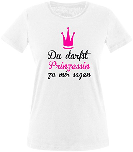 Luckja Du darfst Prinzessin zu mir sagen Damen Rundhals T-Shirt Weiss/Schwarz/Neonpink