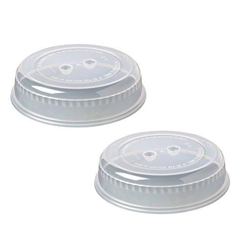 2er-Set Mikrowellenhaube Mikrowellenabdeckhaube Tellerabdeckung mit ca. 26 cm für die Mikrowelle. Mikrowellendeckel sind BPA-frei (Transparent)