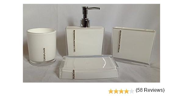 bathroom accessory set 4 piece soap dish dispenser tumbler toothbrush holder diamante 4 colours white