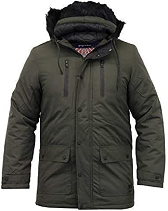 Tokyo Laundry Mens Parka Jacket Coat Quilted Padded Hooded Faux Fur Winter New