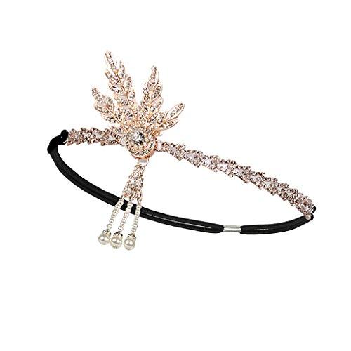 atsby Stirnband Hochzeit Abend Party Damen Strass Perlen Crown - Silber ()