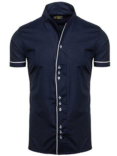 BOLF Herren Hemd Casual Kurzarm Shirt Slim Fit Freizeithemd Men 2B2 Motiv MIX Dunkelblau_5518