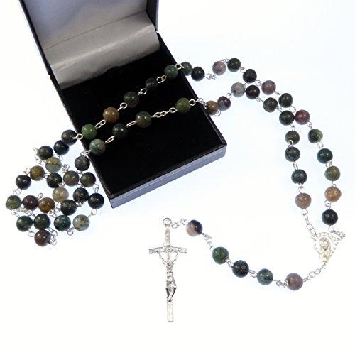 Nuances de vert pierre semi précieuse chapelet de perles 58cm longueur coffret cadeau chrétien catholique