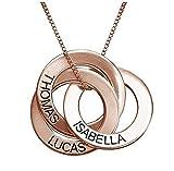 Collar de Anillo Ruso Personalizado con Grabado, círculos entrelazados, Collar - Presenta Regalos para el Nuevo Regalo del día de la Madre