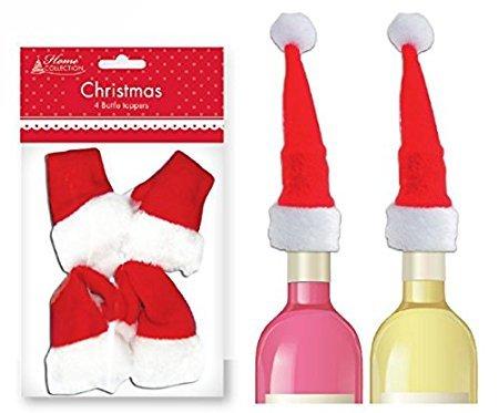 12 Weihnachtsmann Hut (Santa Hunt) Flaschenbedeckung 3 Pakete je 4 Stück