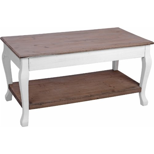 Markenlos Beistelltisch 46x46x90cm weiß-braun Holz Pflanztisch Holztisch Salontisch