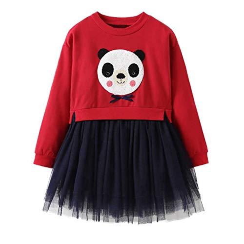 Gap Kostüm Bestickte - IZHH Kinder Kleider, Kleinkind Schöne Kinder Langarm Baby Mädchen Cartoon Panda Prinzessin Spitzenkleid Outfits Kleidung 12M-5Y Bestickte Spitze Saum Kleid(Rot,110)