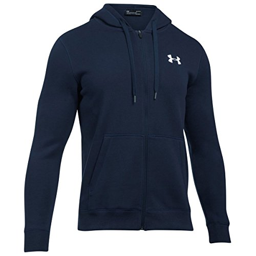 Under Armour Herren Rival Fitted Full Zip Oberteil, Midnight Navy, XXL (Full Fleece Navy Zip)