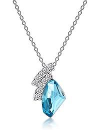 """Rolicia """"Bon Moment"""" Argenterie Bleu Cristal Tchèque 2.0 * 1.3 Cm Pendentif 40 + 5 Cm De Collier"""