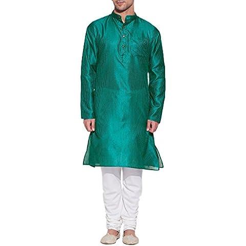 Verde esmeralda (Seda sintética para hombre Kurta–indio la moda hombre, poliéster Dupion