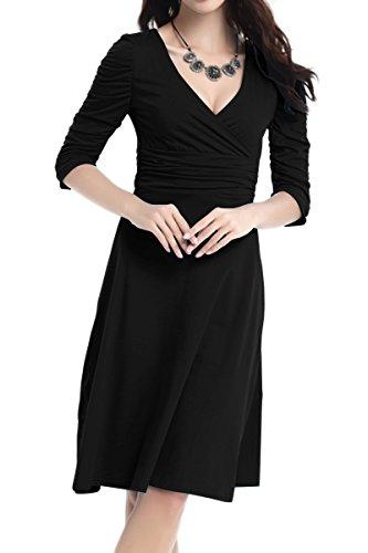 YMING Frauen Sommer Arbeits-beiläufiges Geschäfts Partei V-Ansatz Normallack Schwingen Kleid Schwarz