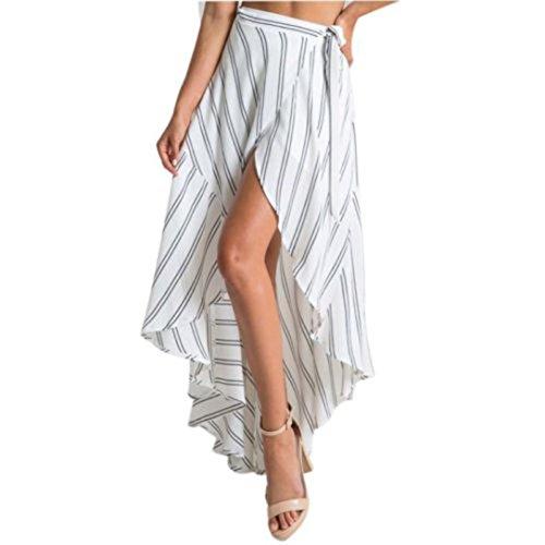 Donna Gonna SamMoSon Vestito Lungo Maxi A Strisce Gonna Estate Spiaggia Sole Abiti Spiaggia Gonna Cocktail Festa Gonna Bianca