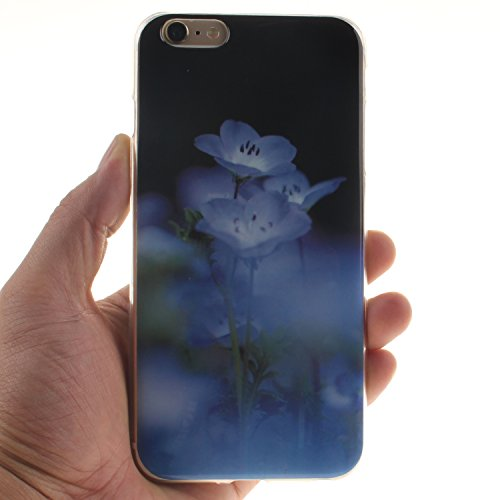 Meet de Coque pour Sony Apple iphone 5S / iphone SE,Apple iphone 5S / iphone SE Housse, Apple iphone 5S / iphone SE Soft TPU Doux Silicone Bumper Case - Lion noir fleurs bleues
