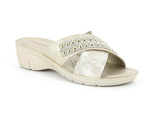 Frau Damen Kristall Diamante Verzierte Gurt Überqueren Beiläufig Komfort Schlüpfen Kork Keilabsatz Sliders Sandalen Schuhe Größe Gold