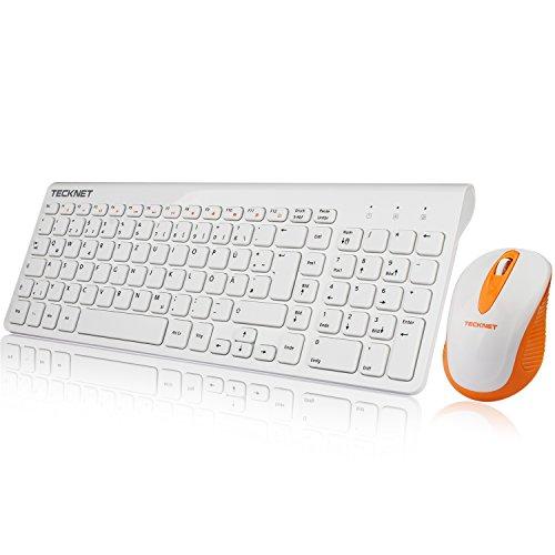 TECKNET Kabellose Tastatur und Maus, Wireless Combo Schnurlose Tastatur und Computermaus Wireless Keyboard and Mouse Set (QWERTZ, Deutsches Tastaturlayout) (Weiß)