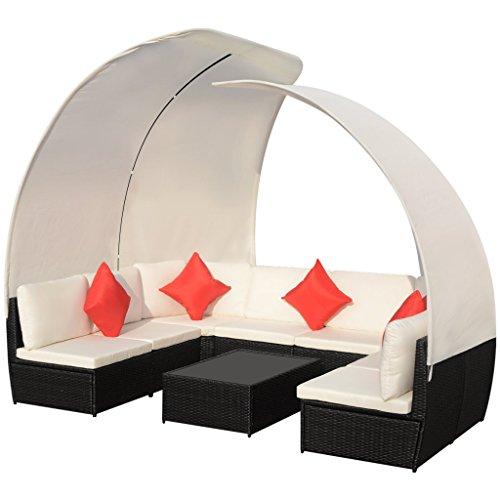 vidaXL 32-tlg. Poly Rattan Sitzgruppe Sitzgarnitur Lounge Set Sofa Gartenmöbel